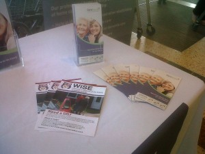 Elderly care information stand in Morrisons, Wetherby
