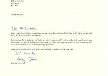 Andrew Jones MP Carefound Home Care