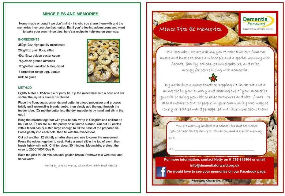 Dementia Forward Mince Pies and Memories