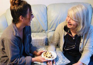 Kirstie & Christine Enjoying Mince Pies