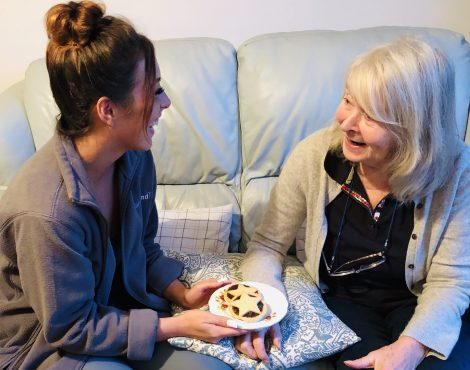 Kirstie & Christine Enjoying Mince Pies