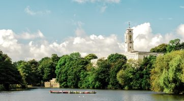 University of Nottingham: View of Trent Building and boating lake from Highfields Park